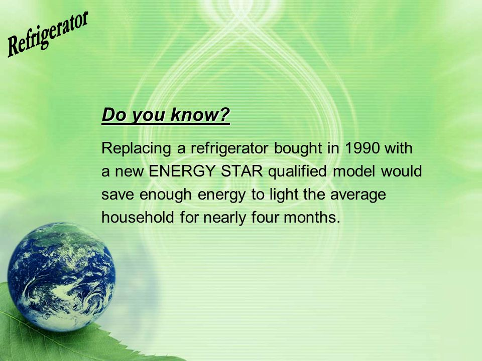 Refrigerator Do you know Replacing a refrigerator bought in 1990 with