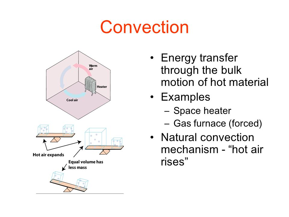 Convection Energy transfer through the bulk motion of hot material