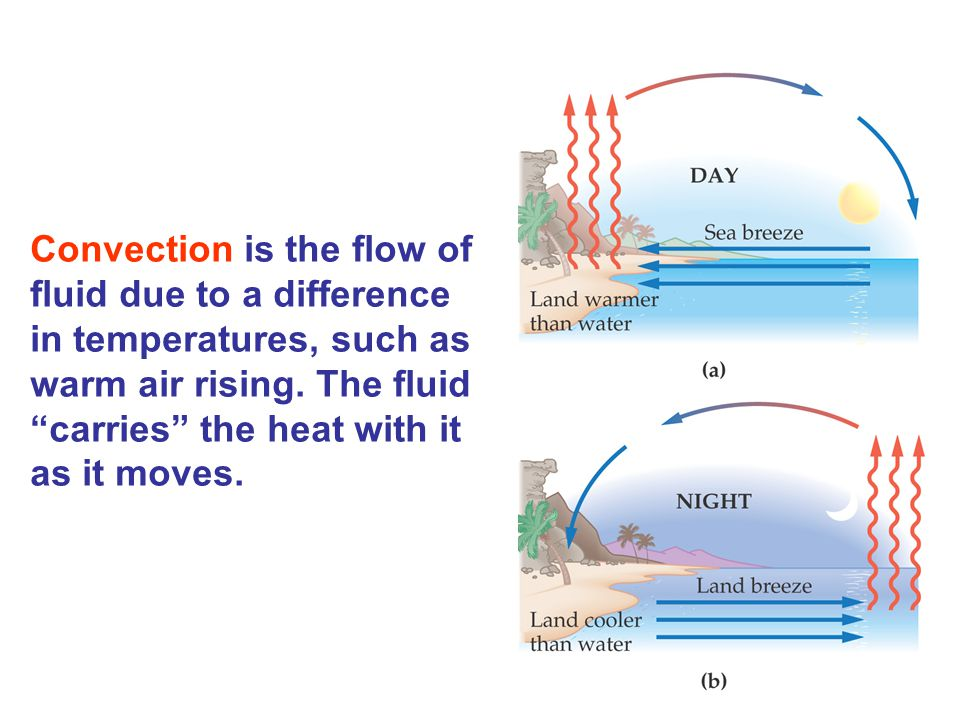 Convection is the flow of fluid due to a difference in temperatures, such as warm air rising.