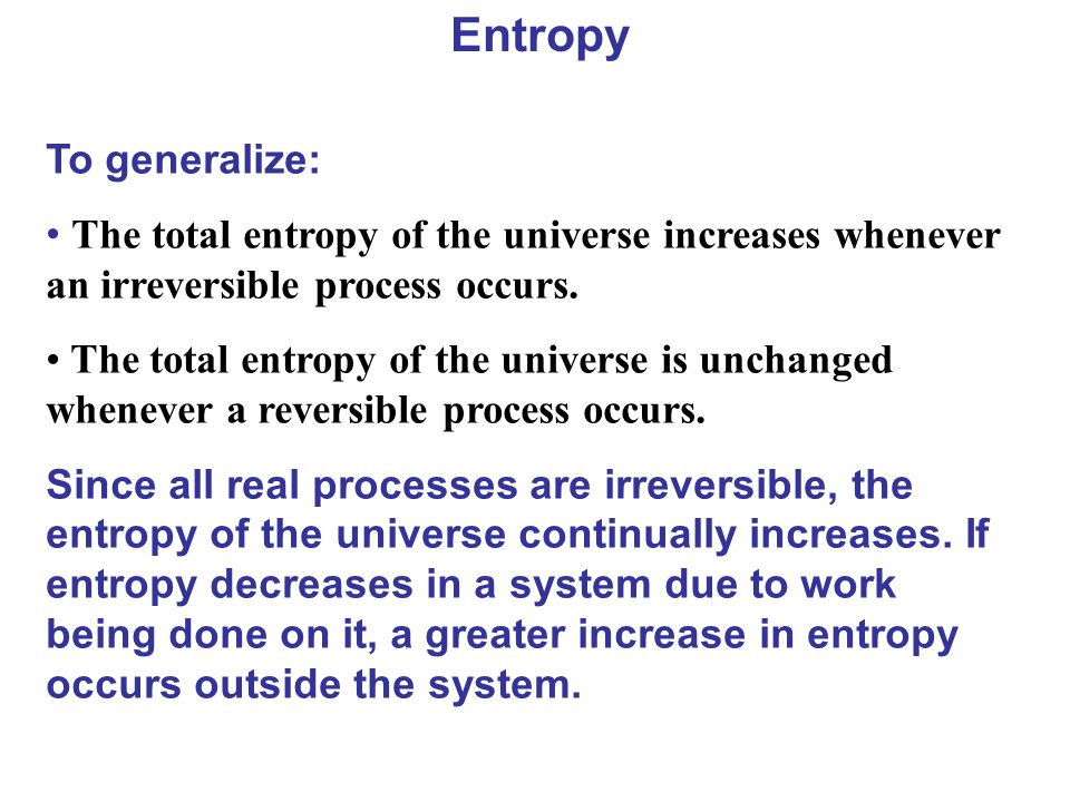 Entropy To generalize: