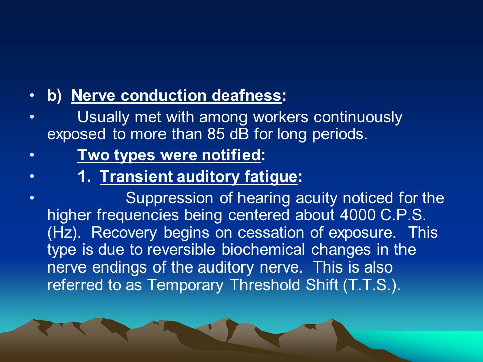 b) Nerve conduction deafness: