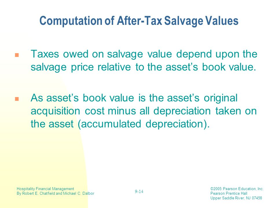 Computation of After-Tax Salvage Values