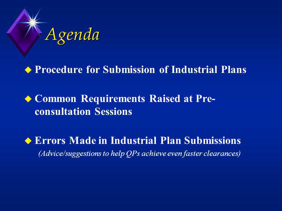 Agenda Procedure for Submission of Industrial Plans