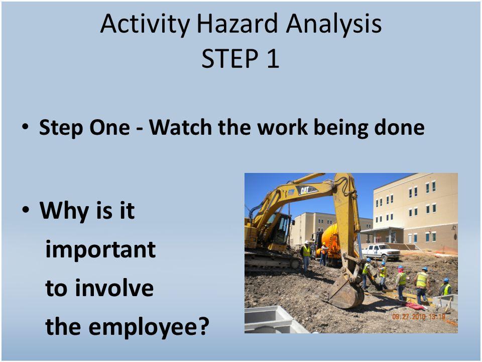 Activity Hazard Analysis STEP 1