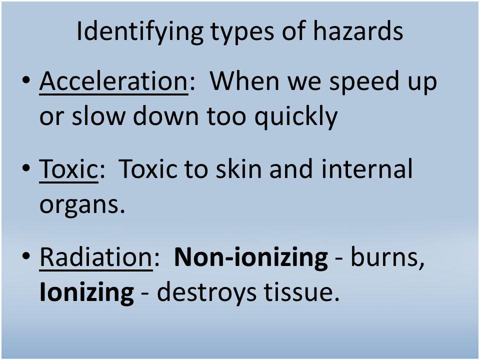 Identifying types of hazards