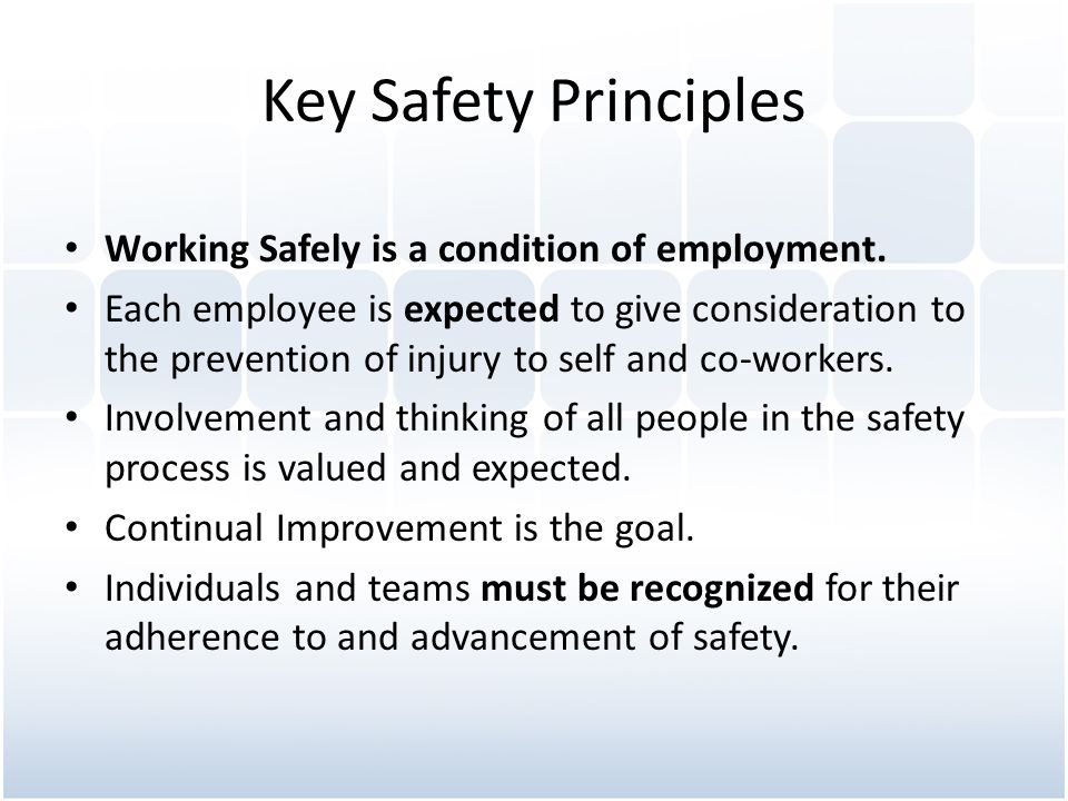 Key Safety Principles Working Safely is a condition of employment.