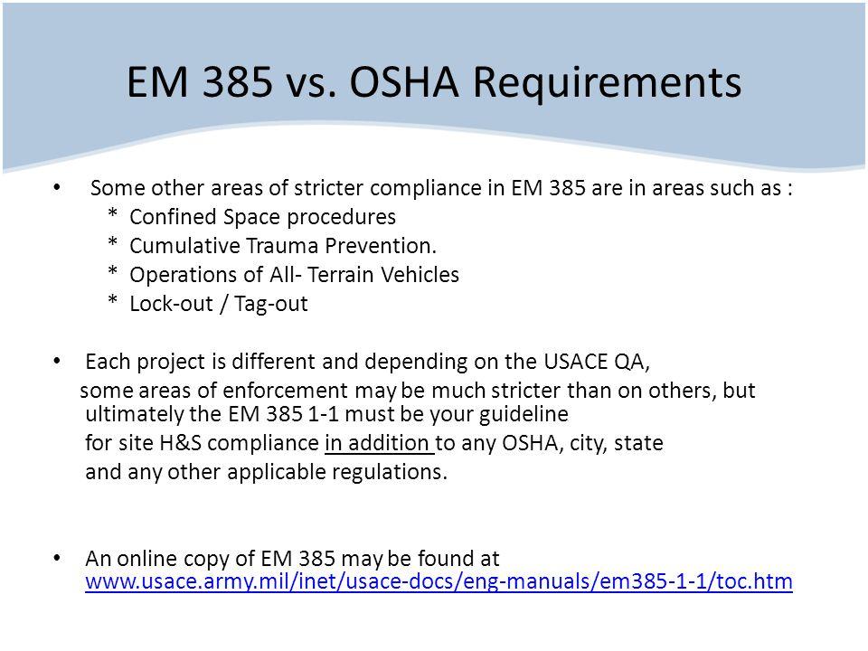 EM 385 vs. OSHA Requirements