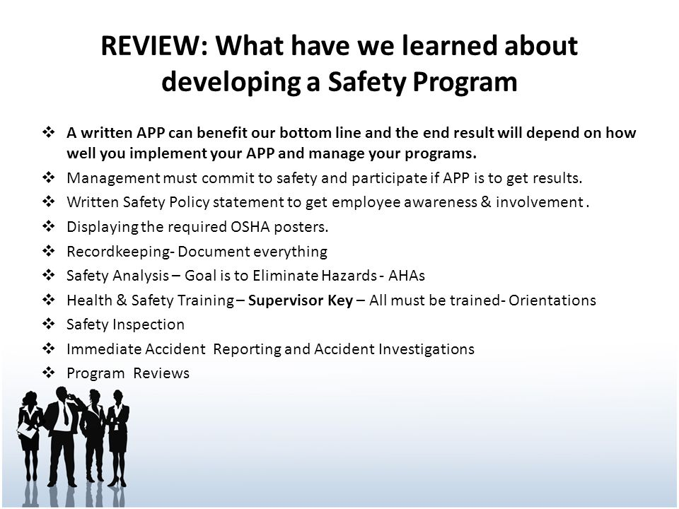 REVIEW: What have we learned about developing a Safety Program