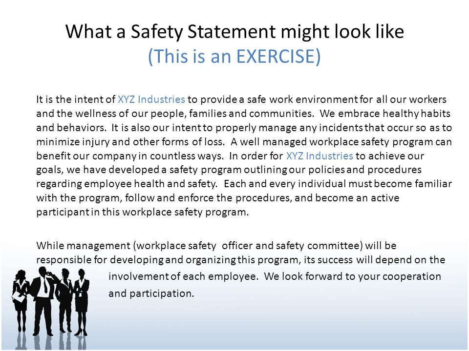 What a Safety Statement might look like (This is an EXERCISE)