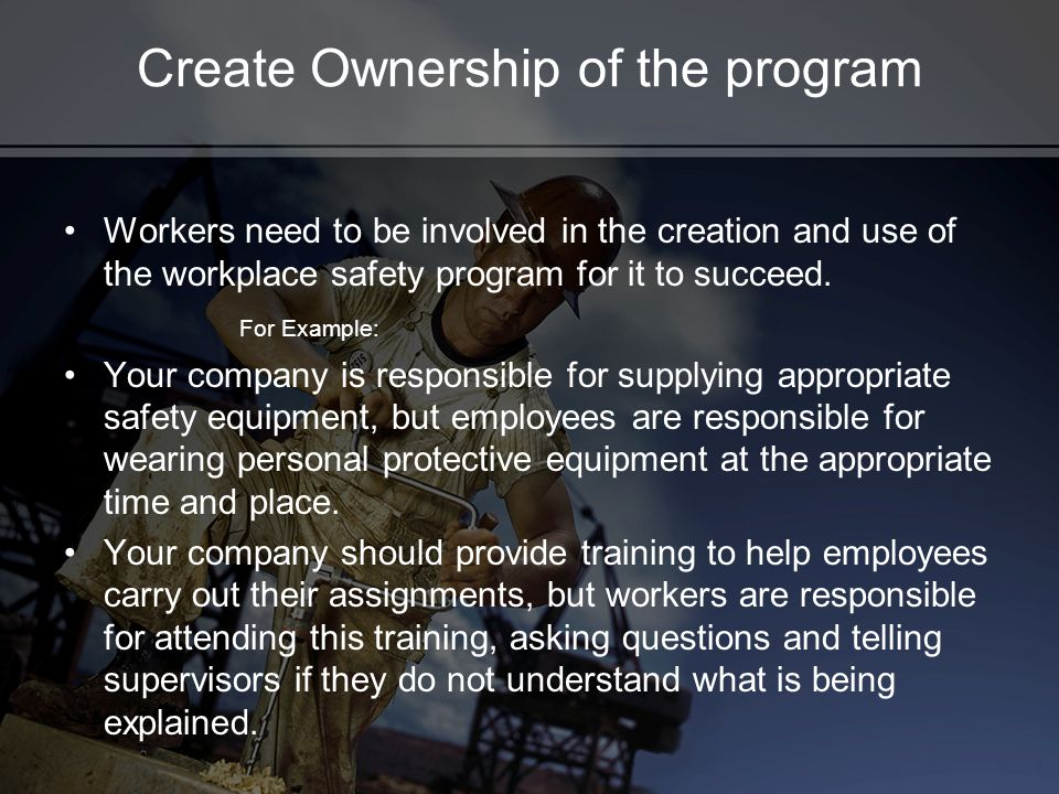 Create Ownership of the program