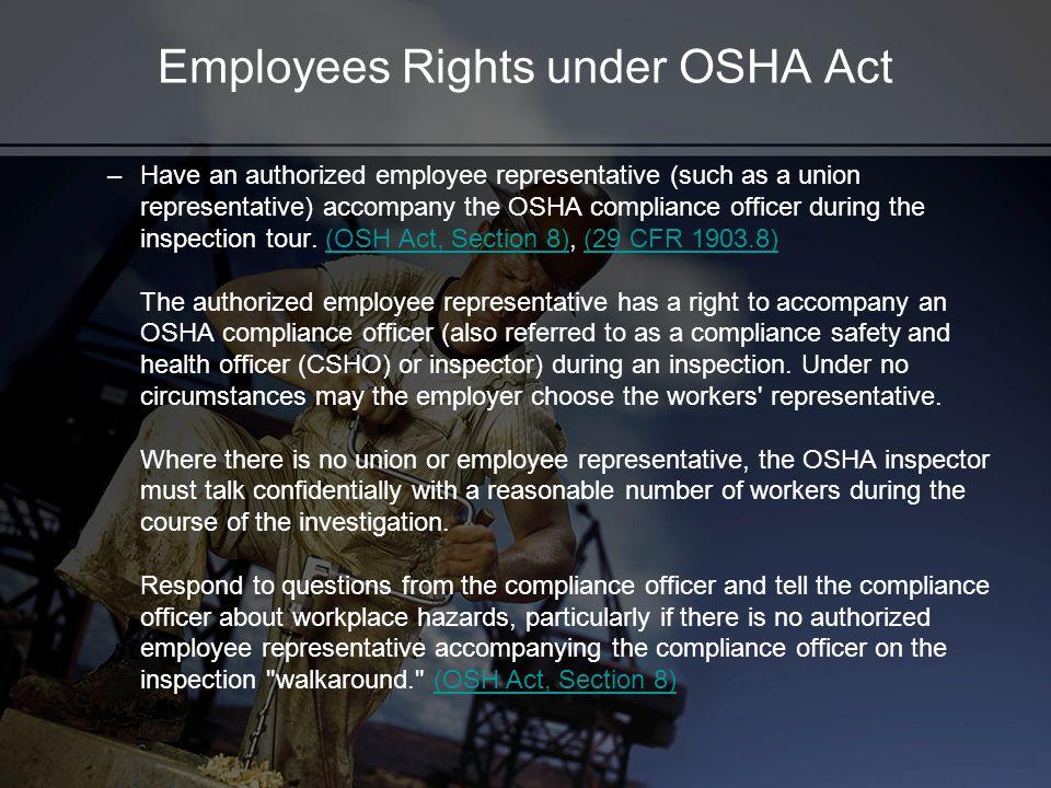 Employees Rights under OSHA Act
