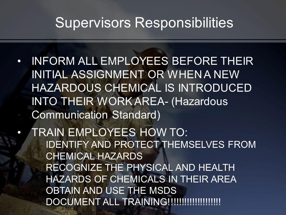 Supervisors Responsibilities