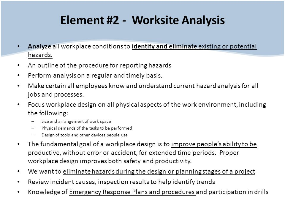 Element #2 - Worksite Analysis