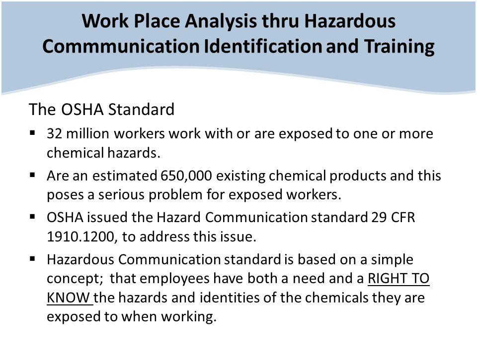 Work Place Analysis thru Hazardous Commmunication Identification and Training