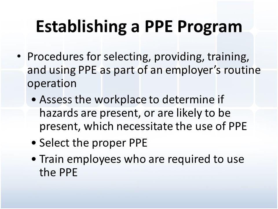 Establishing a PPE Program