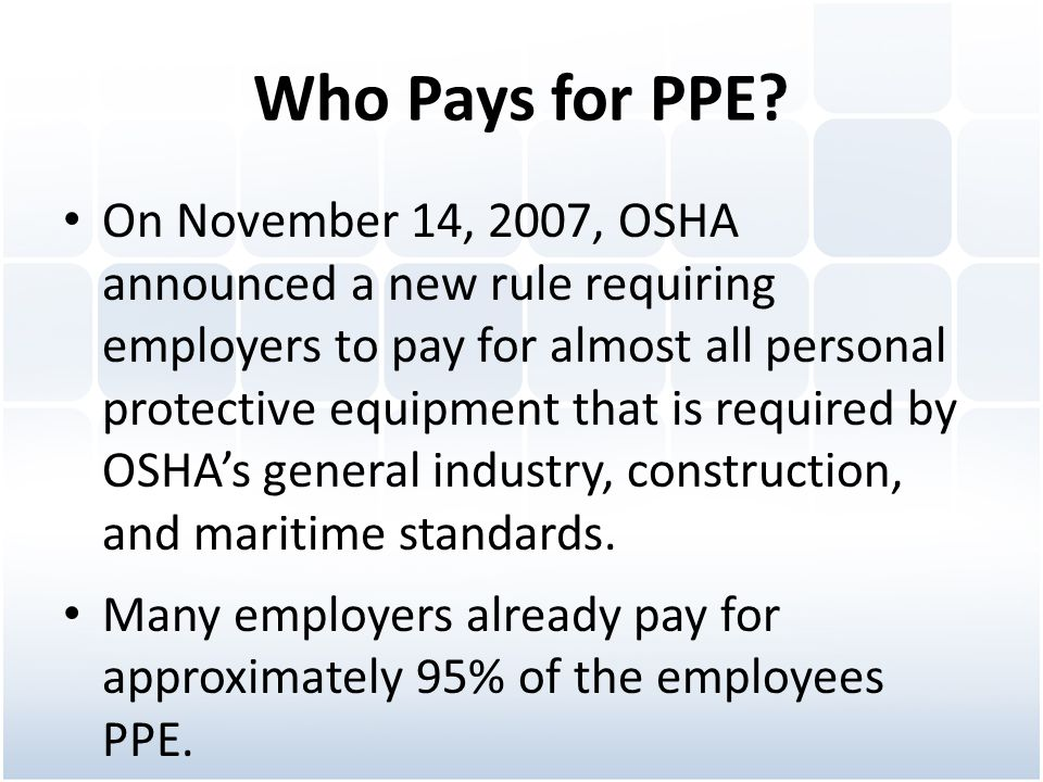 Who Pays for PPE
