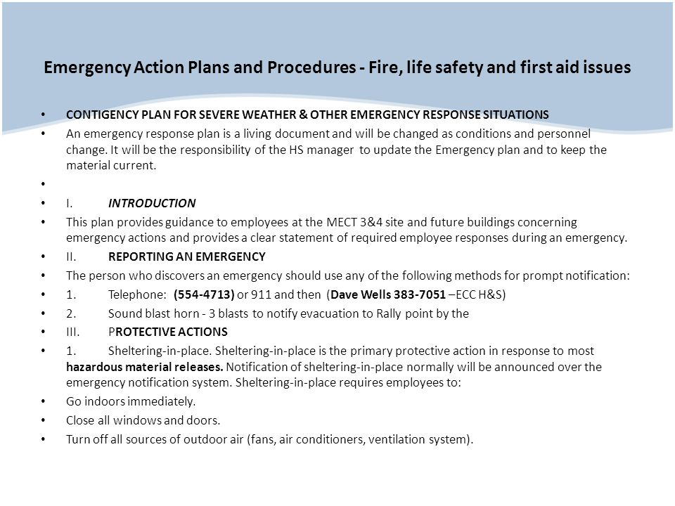 Emergency Action Plans and Procedures - Fire, life safety and first aid issues