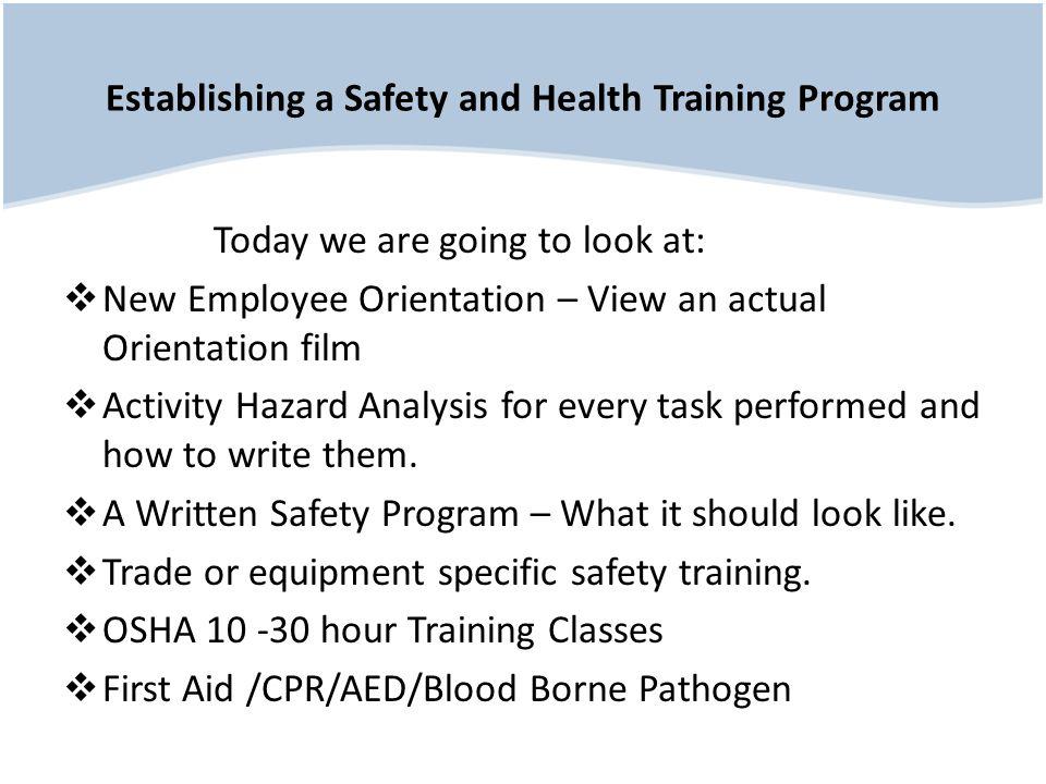 Establishing a Safety and Health Training Program