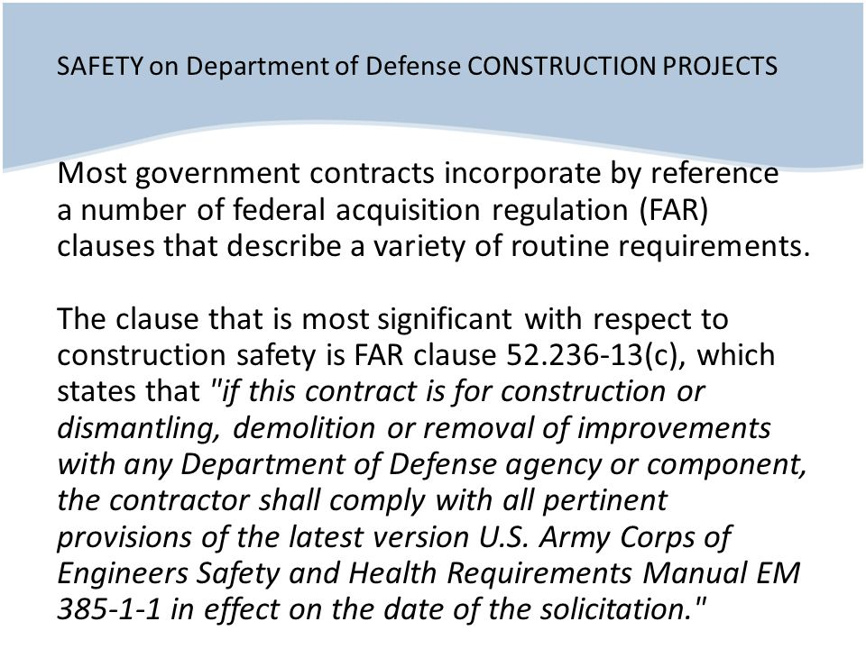 SAFETY on Department of Defense CONSTRUCTION PROJECTS