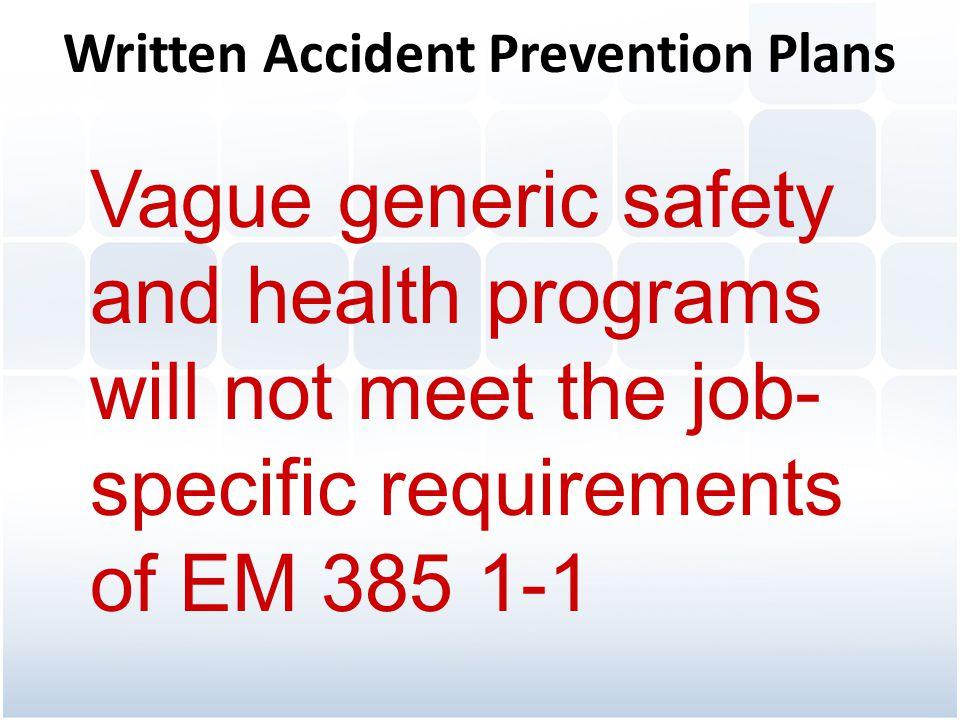 Written Accident Prevention Plans