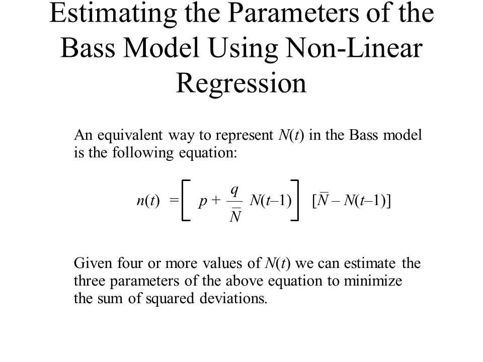 Estimating the Parameters of the Bass Model Using Non-Linear Regression