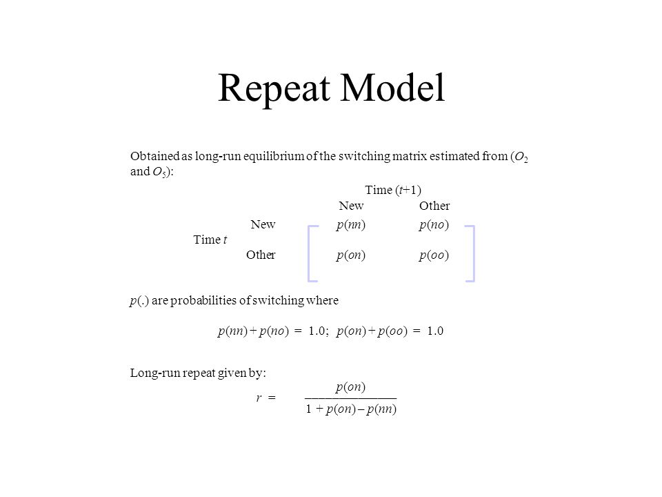 p(nn) + p(no) = 1.0; p(on) + p(oo) = 1.0