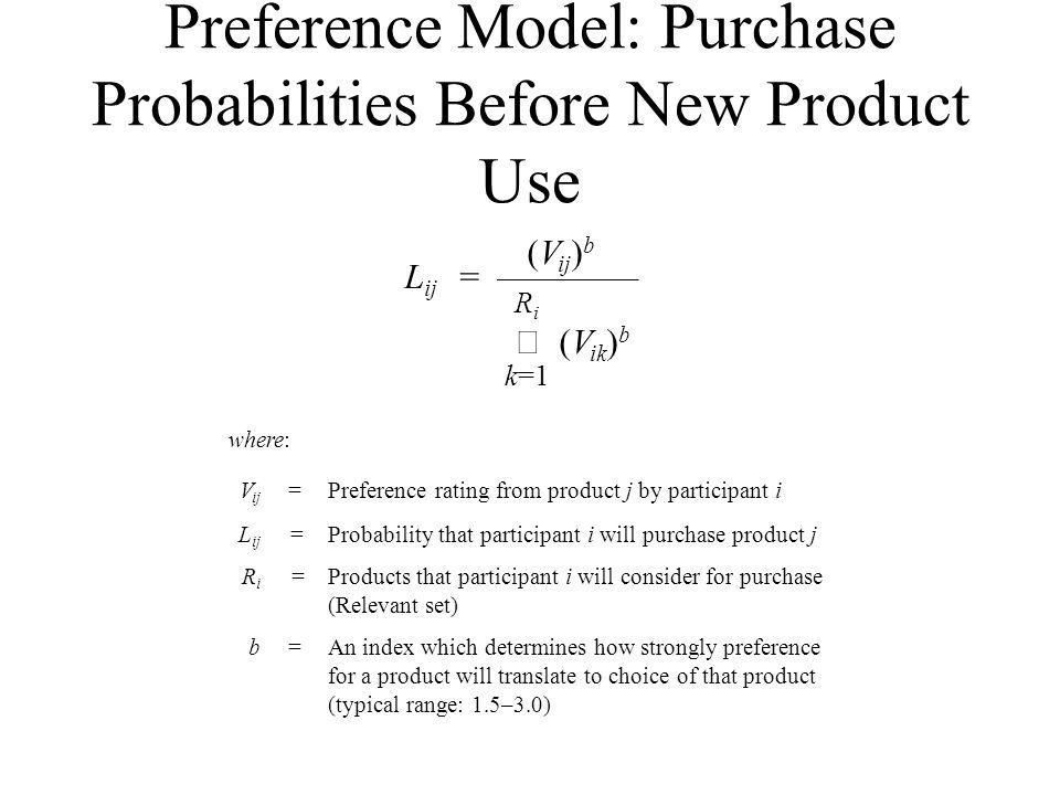 Preference Model: Purchase Probabilities Before New Product Use