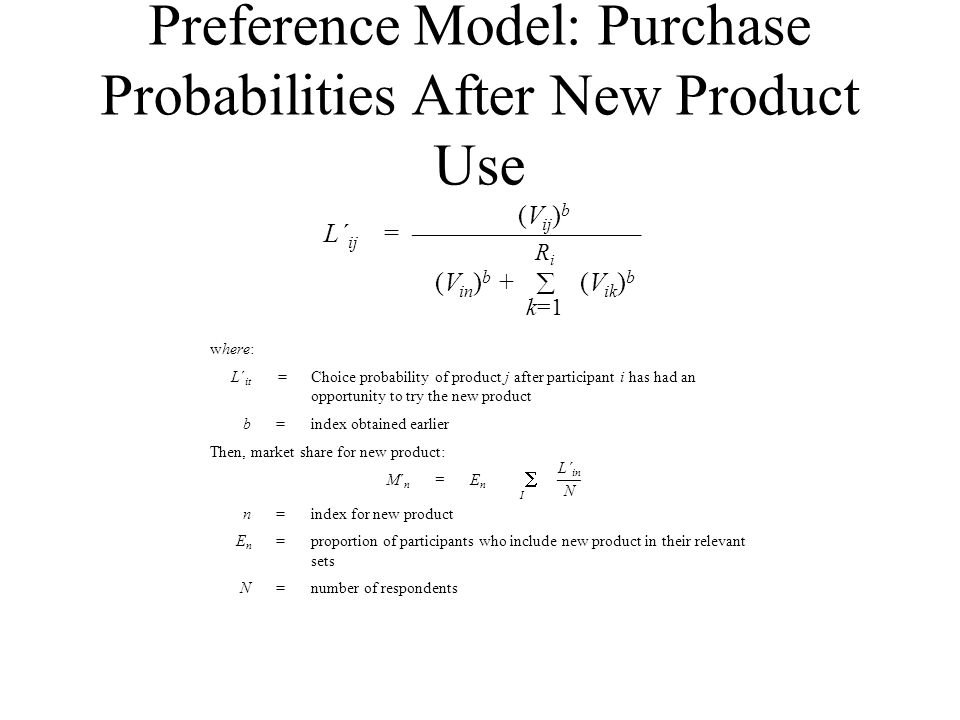 Preference Model: Purchase Probabilities After New Product Use