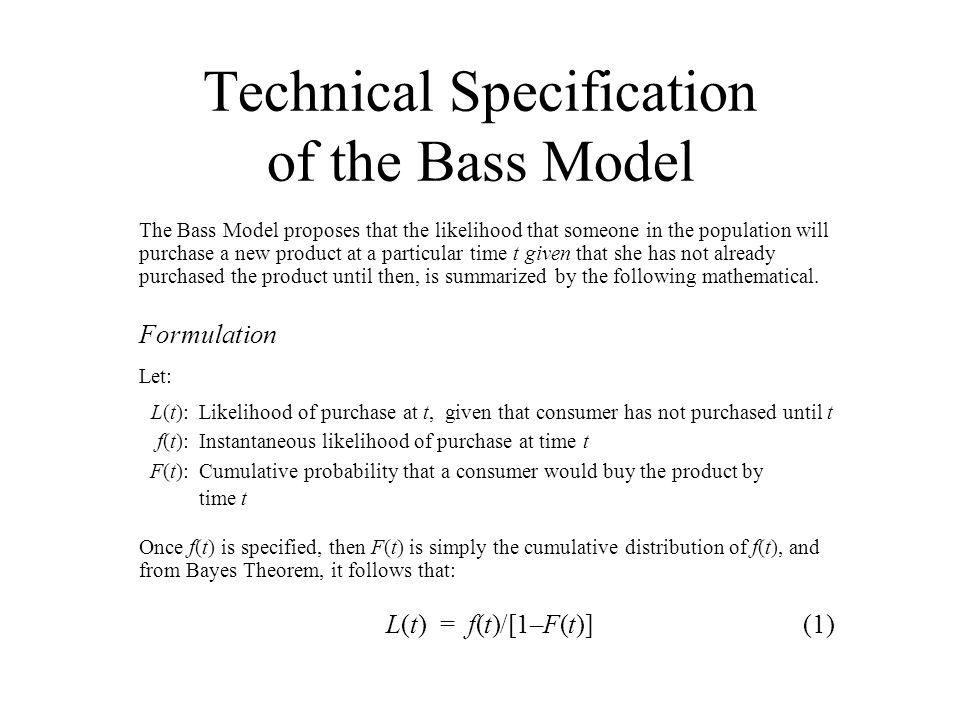 Technical Specification of the Bass Model