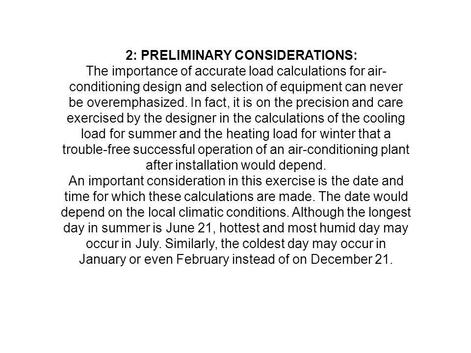 2: PRELIMINARY CONSIDERATIONS: