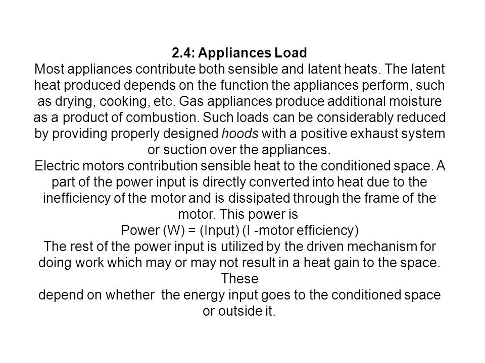 Power (W) = (Input) (I -motor efficiency)