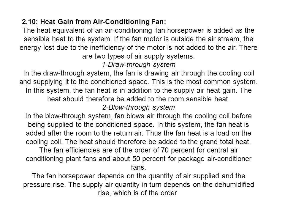 2.10: Heat Gain from Air-Conditioning Fan: