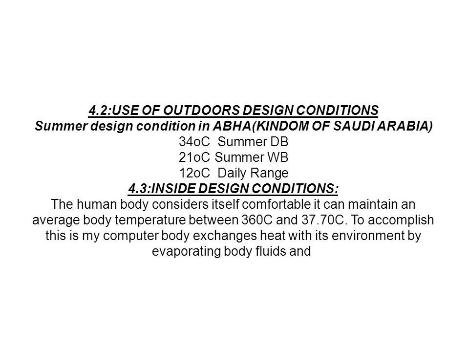 4.2:USE OF OUTDOORS DESIGN CONDITIONS