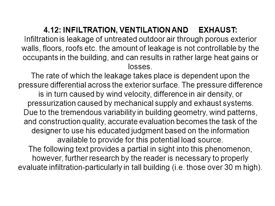 4.12: INFILTRATION, VENTILATION AND EXHAUST: