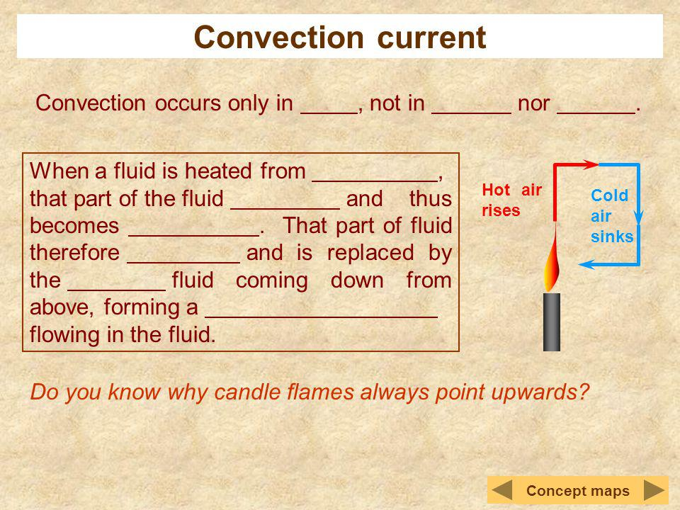 Convection current Convection occurs only in , not in nor .