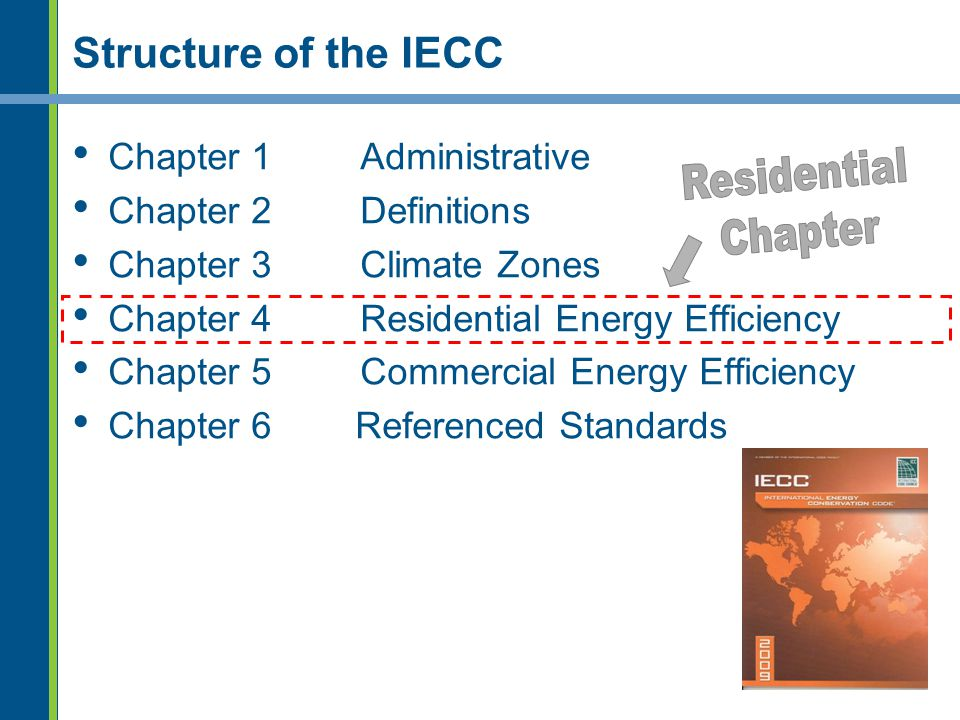 Residential Chapter Structure of the IECC Chapter 1 Administrative