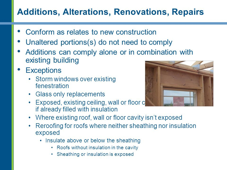 Additions, Alterations, Renovations, Repairs
