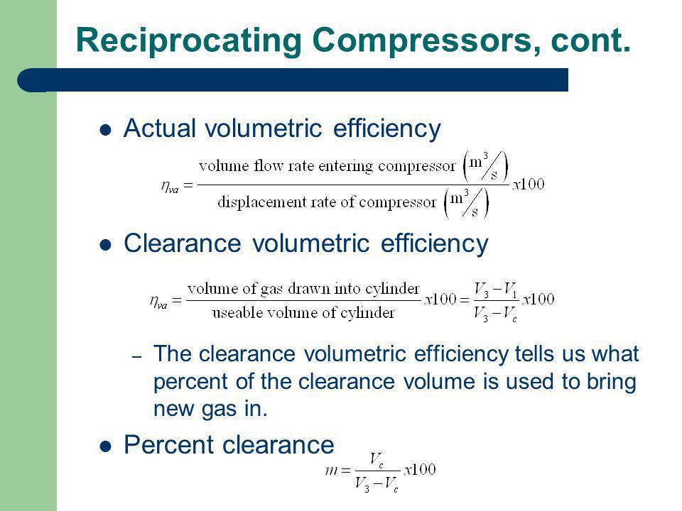 Reciprocating Compressors, cont.
