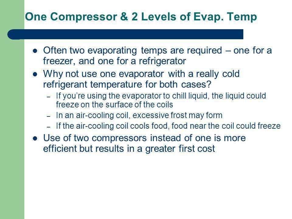 One Compressor & 2 Levels of Evap. Temp