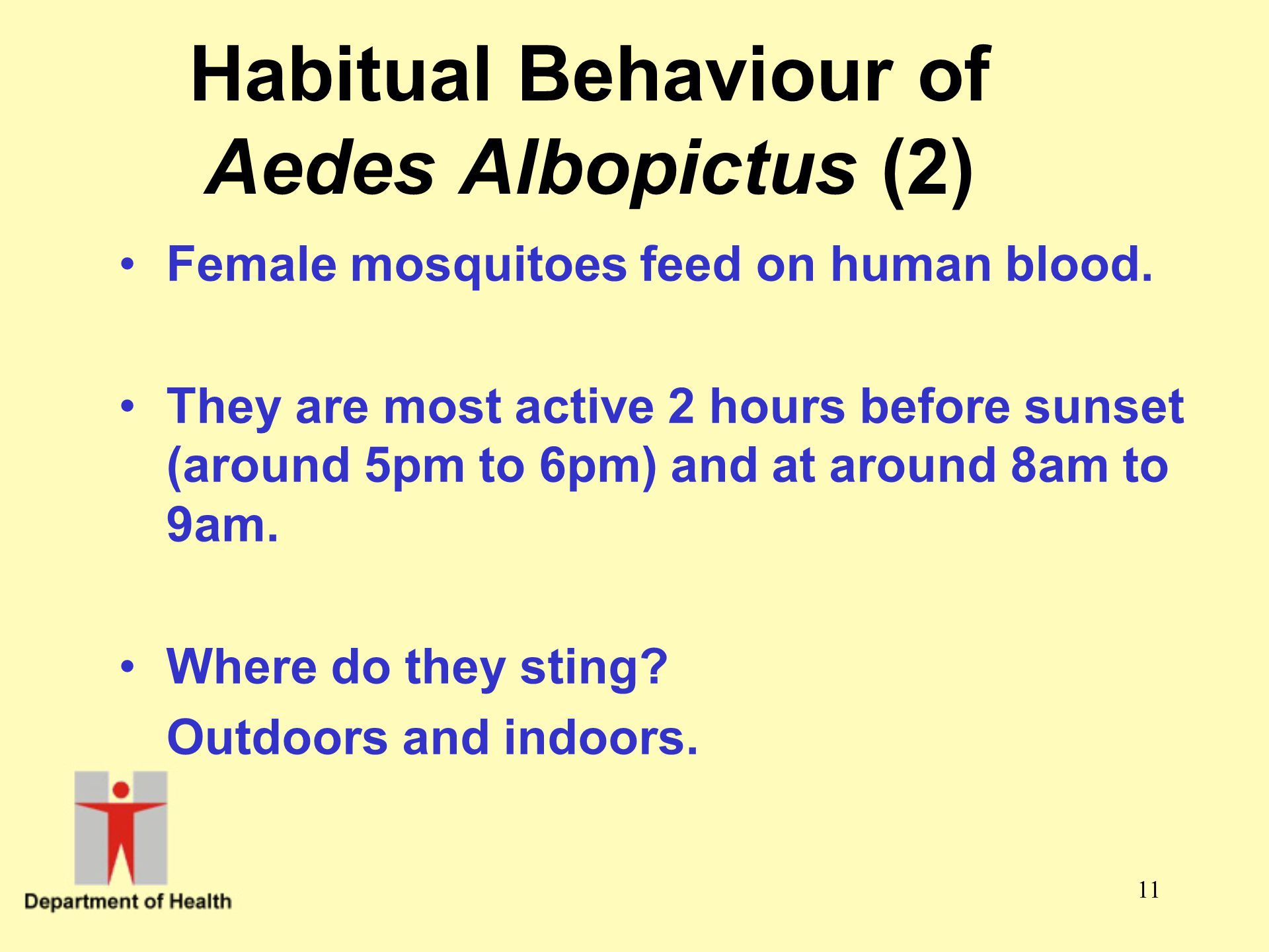Habitual Behaviour of Aedes Albopictus (2)