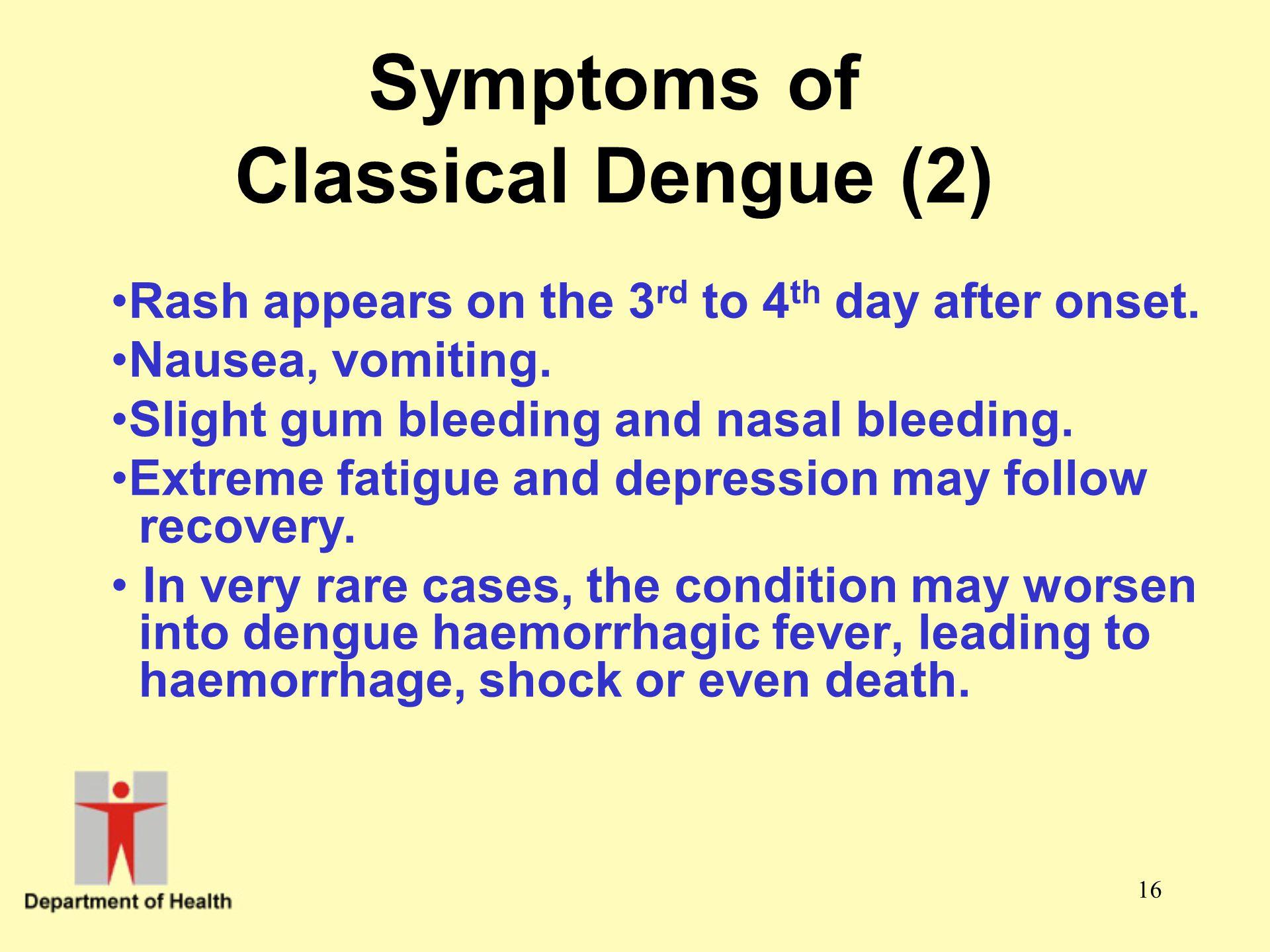 Symptoms of Classical Dengue (2)