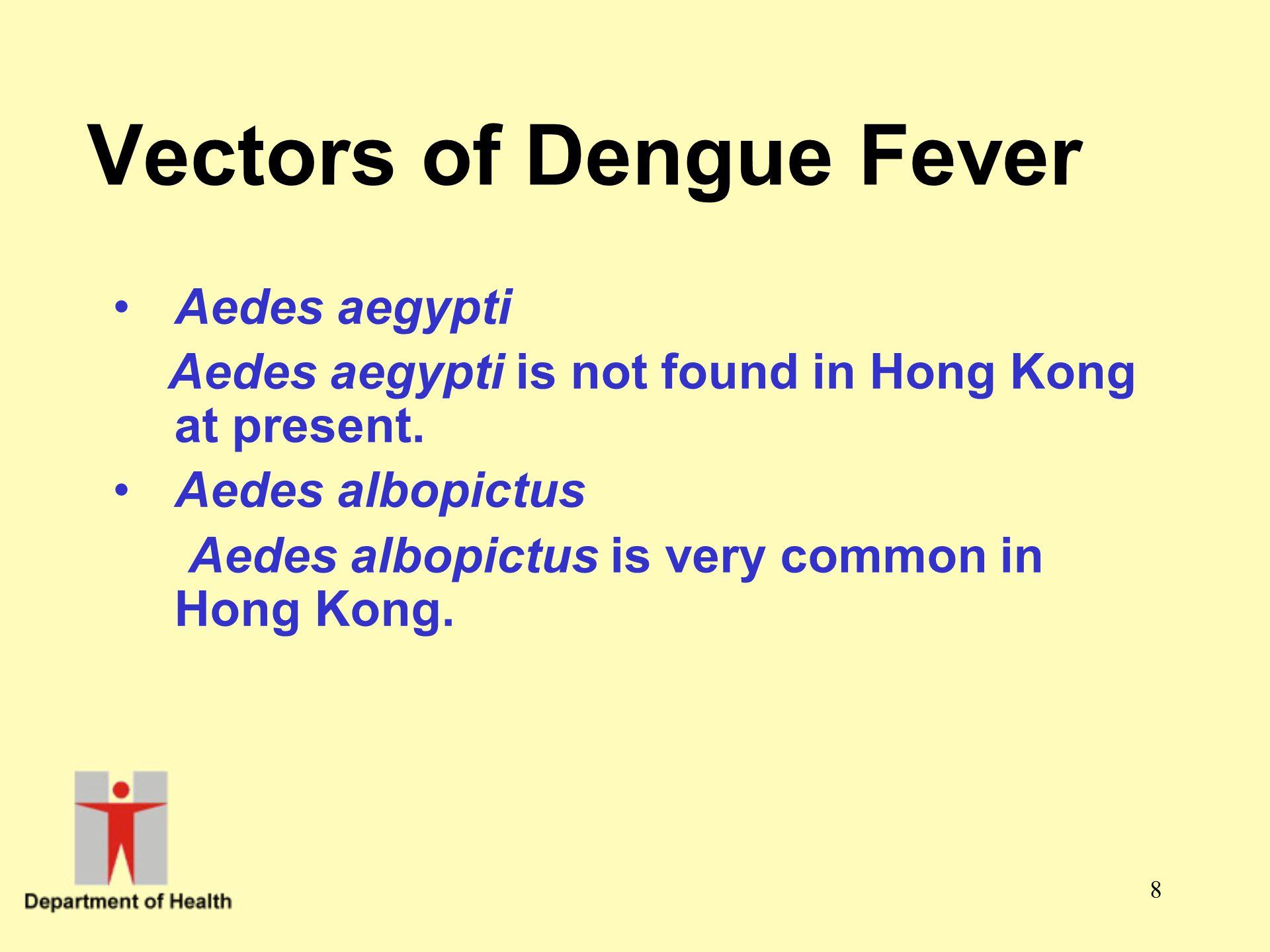 Vectors of Dengue Fever