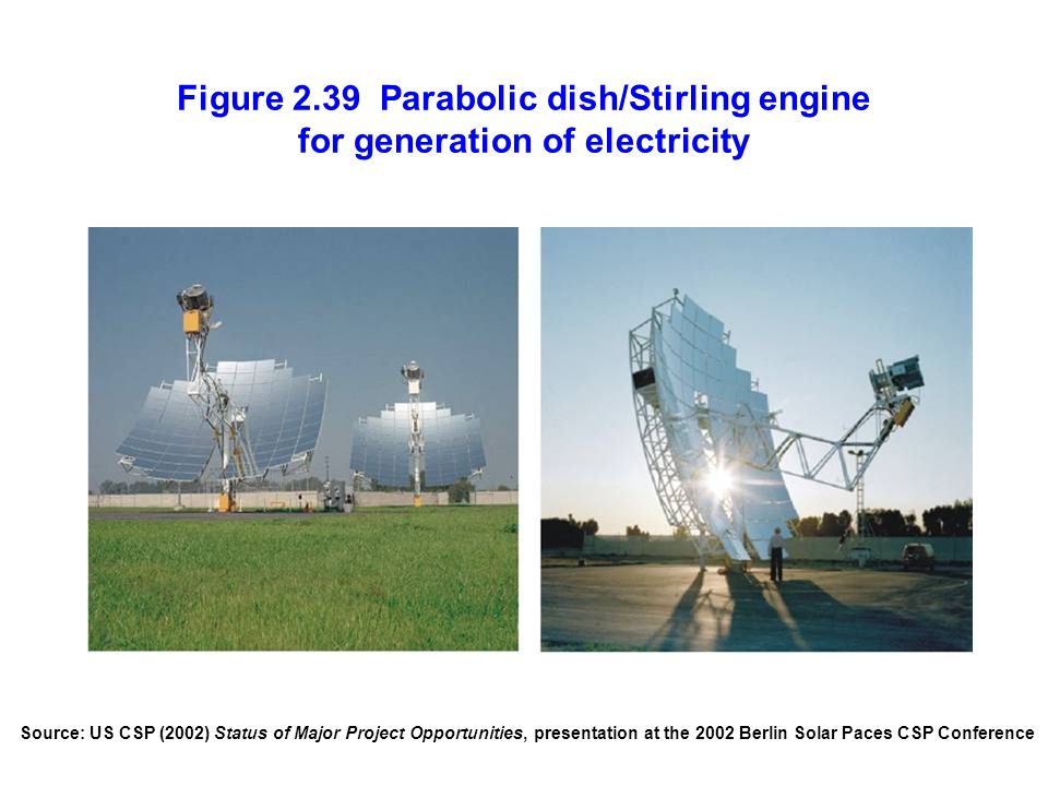 Figure 2.39 Parabolic dish/Stirling engine for generation of electricity