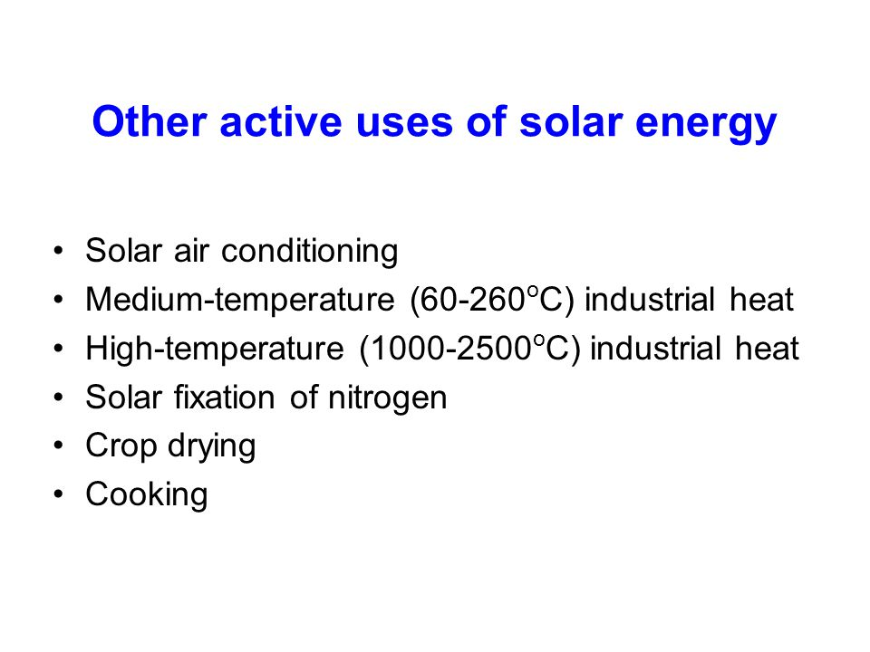 Other active uses of solar energy