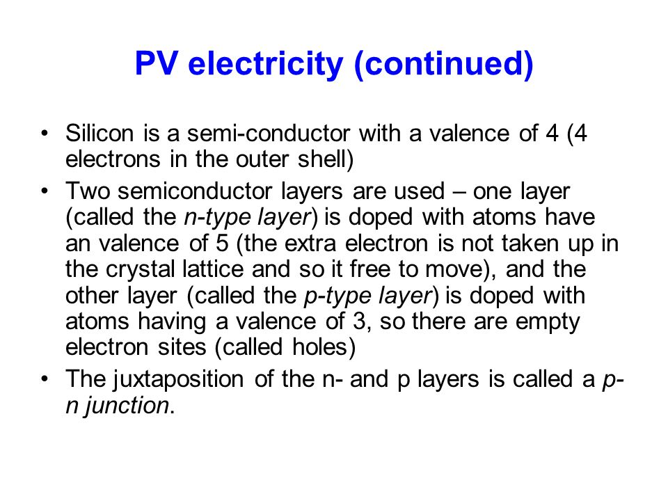 PV electricity (continued)