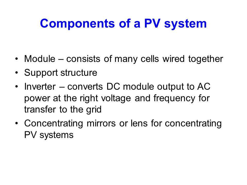Components of a PV system