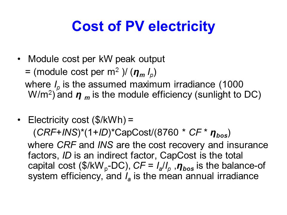 Cost of PV electricity Module cost per kW peak output