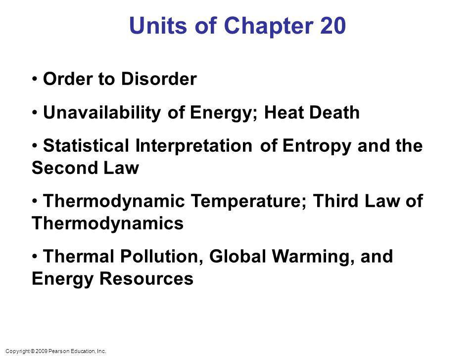 Units of Chapter 20 Order to Disorder