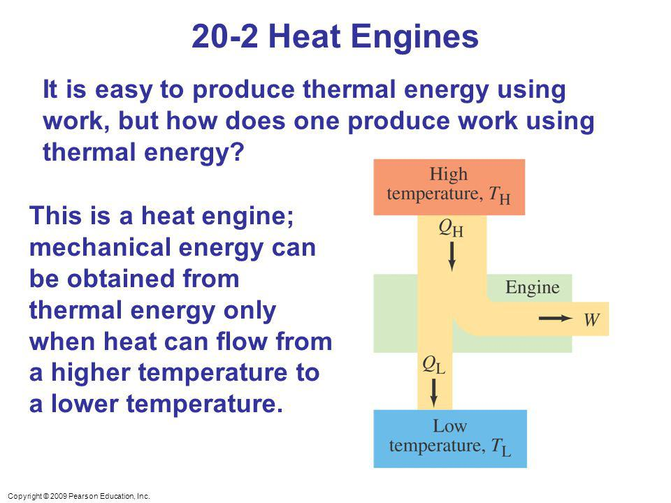 20-2 Heat Engines It is easy to produce thermal energy using work, but how does one produce work using thermal energy
