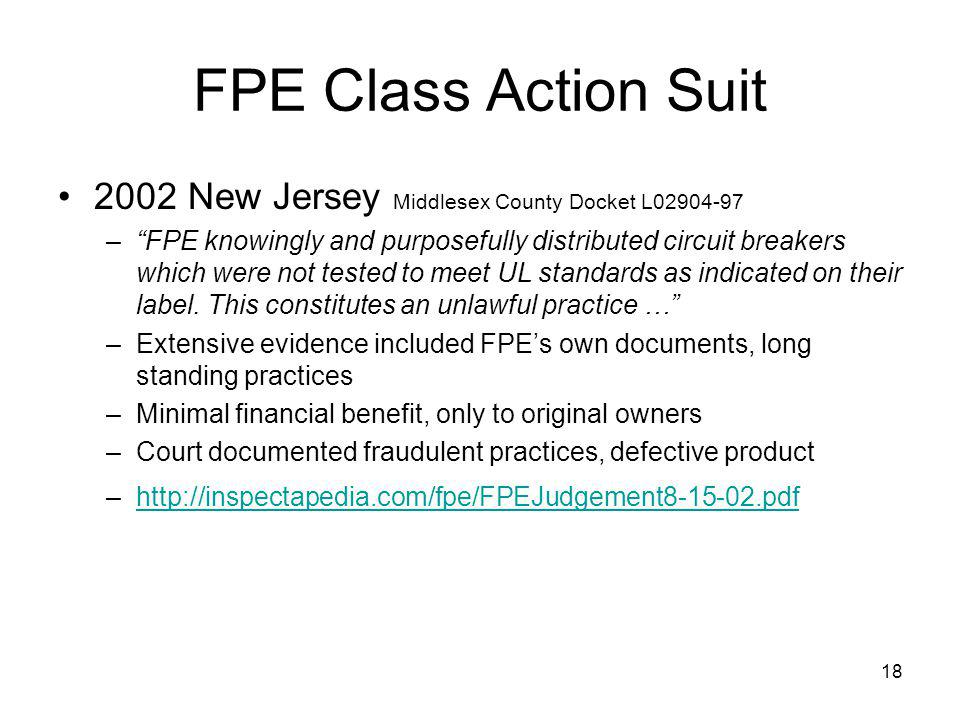 FPE Class Action Suit 2002 New Jersey Middlesex County Docket L02904-97.